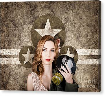Sombre Canvas Print - Fifties Army Pin Up Woman. Remembrance Day by Jorgo Photography - Wall Art Gallery