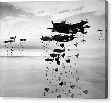Fighting For Peace And Love Canvas Print by Celestial Images