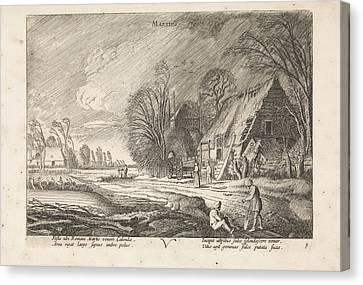 Figures At A Farm In The Rain March, Jan Van De Velde II Canvas Print