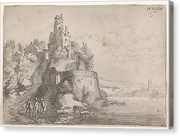Figures At A Fort In A River Landscape, Jan Van De Velde II Canvas Print
