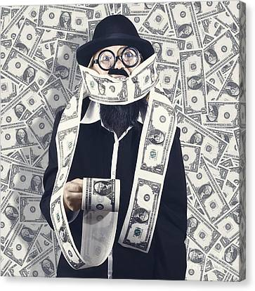 Filthy Rich Male Business Person. Finance Success Canvas Print