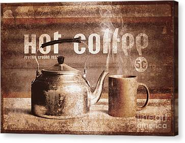 Labelled Canvas Print - Fine Art Coffee Shop Tin Sign Insignia by Jorgo Photography - Wall Art Gallery