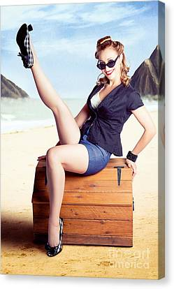Fine Art Fifties Poster Girl On Travel Luggage Canvas Print by Jorgo Photography - Wall Art Gallery