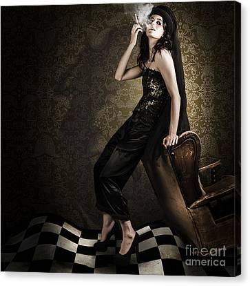 Fine Art Grunge Fashion Portrait In Dark Interior Canvas Print