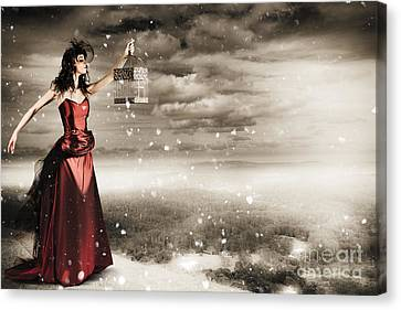 Fine Art Photo Of A Beautiful Winter Fashion Woman Canvas Print by Jorgo Photography - Wall Art Gallery
