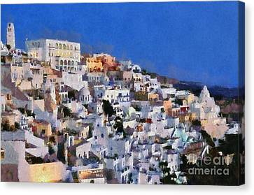 Fira Town During Dusk Time Canvas Print by George Atsametakis