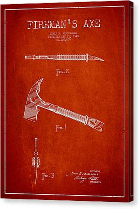 Rescue Canvas Print - Fireman Axe Patent Drawing From 1940 by Aged Pixel