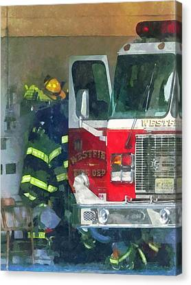 Firemen - Inside The Fire Station Canvas Print by Susan Savad