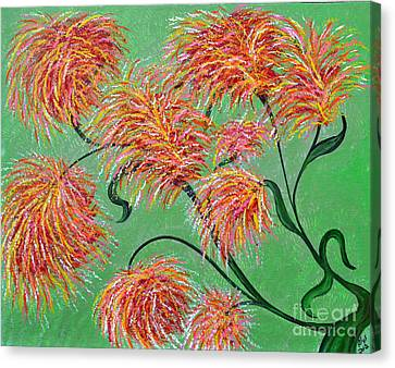 Canvas Print featuring the painting Fireworks by Alys Caviness-Gober