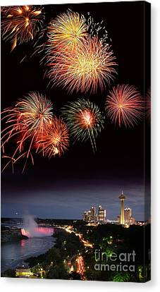 Pyrotechnics Canvas Print - Fireworks Display Over Niagara Falls by Tony Craddock
