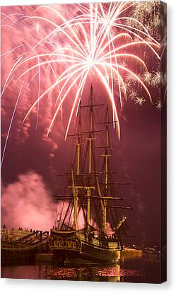 Fireworks Exploding Over Salem's Friendship Canvas Print