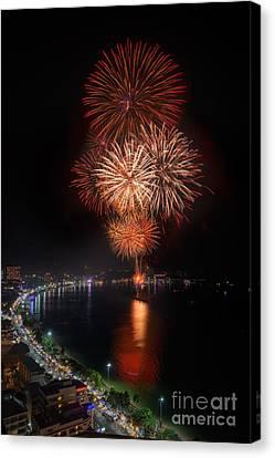 Fireworks New Year 2014 - 2015 Celebration Canvas Print by Anek Suwannaphoom