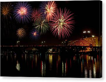 Fireworks Over The Broadway Bridge Canvas Print