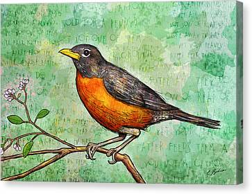First Robin Of Spring Canvas Print