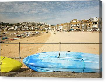 Fishing Boats At Low Tide Canvas Print by Ashley Cooper