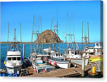 Fishing Fleet In Front Of Morro Rock Digital Painting Canvas Print by Barbara Snyder