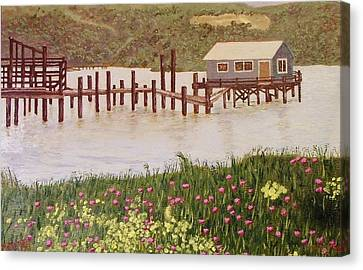 Fishing Shack Canvas Print by Mike Caitham
