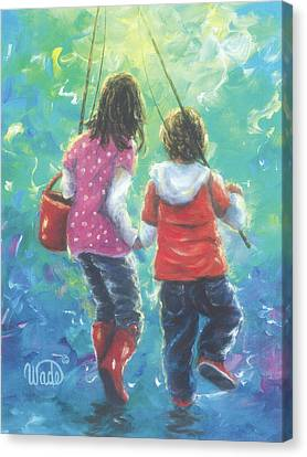Fishing With Sister Canvas Print
