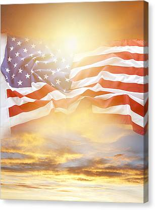 Flag And Sky Canvas Print by Les Cunliffe