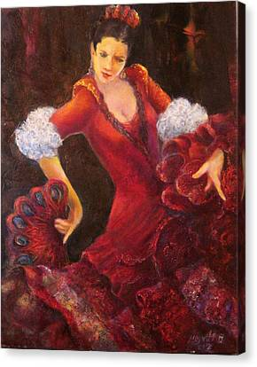 Flamenco Dancer With A Fan Canvas Print