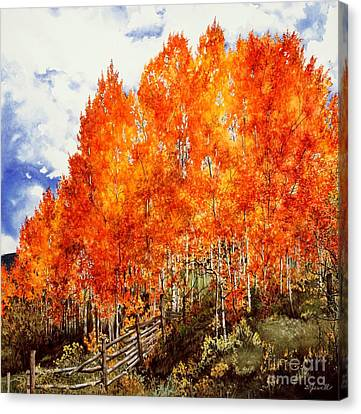 Canvas Print featuring the painting Flaming Aspens 2 by Barbara Jewell