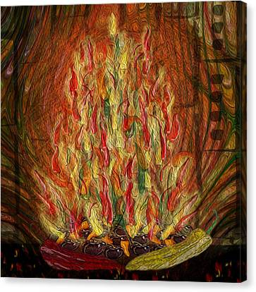 Flaming Peppers Canvas Print