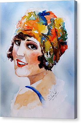 Canvas Print featuring the painting Flappers Girl by Steven Ponsford