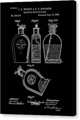 Flask Patent 1888 - Black Canvas Print