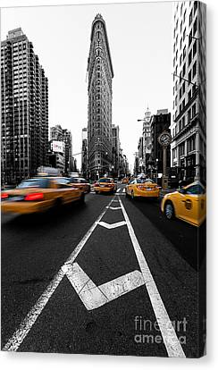 Yellow Building Canvas Print - Flatiron Building Nyc by John Farnan