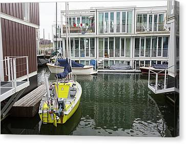 Flooding Canvas Print - Floating Houses In Amsterdam by Ashley Cooper