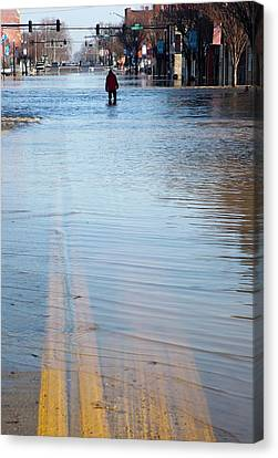 Flooding Canvas Print - Flooded Street by Jim West