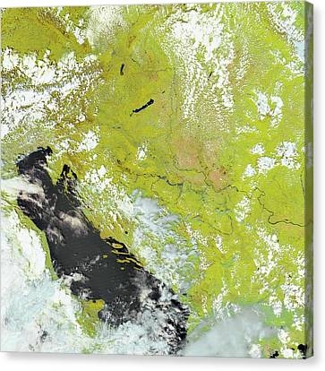 Flooding In The Balkans Canvas Print by Nasa Earth Observatory