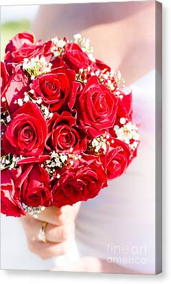 Floral Rose Boquet Held By Bride Canvas Print by Jorgo Photography - Wall Art Gallery