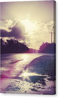 Florescent Road Sunset. Passing Storm Reflection Canvas Print by Jorgo Photography - Wall Art Gallery