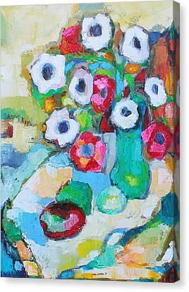 Flowers In Green Vase Canvas Print