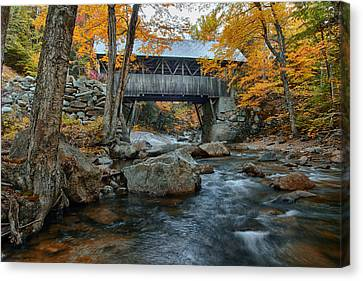 Flume Gorge Covered Bridge Canvas Print by Jeff Folger