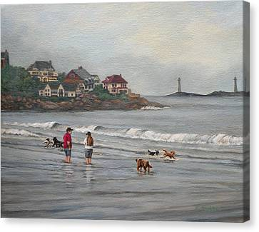 Fog Rolling In On Good Harbor Beach Canvas Print by Eileen Patten Oliver