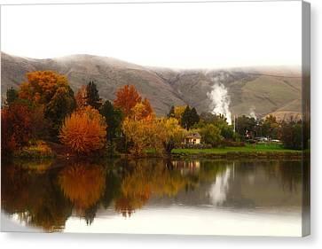 Canvas Print featuring the photograph Foggy Fall Morning 2 by Lynn Hopwood