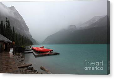 Foggy Lake Louise In Banff Alberta Canvas Print