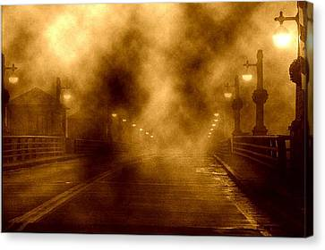 Canvas Print featuring the photograph Foggy Night At The Bridge by Holly Martinson