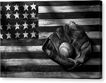 Folk Art American Flag And Baseball Mitt Black And White Canvas Print by Garry Gay