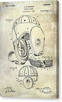 Football Canvas Print - 1927 Football Helmet Patent by Jon Neidert
