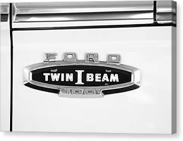 Ford 100 Twin I Beam Truck Emblem Canvas Print by Jill Reger