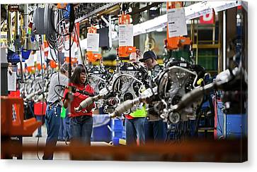 Ford Plant Canvas Print - Ford Focus Assembly Line by Jim West