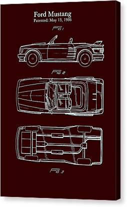 Ford Mustang Automobile Body Patent 1986 Canvas Print by Mountain Dreams