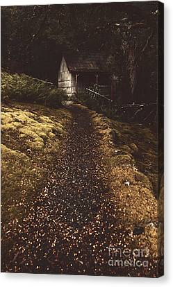 Forest Log Cabin Or Cottage With Leafy Autumn Path Canvas Print by Jorgo Photography - Wall Art Gallery