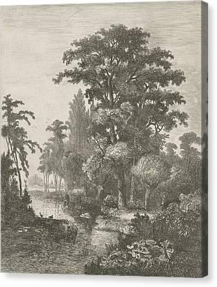 Forest Scene With Two Ducks Nesting In A River Canvas Print by Hermanus Jan Hendrik Van Rijkelijkhuysen