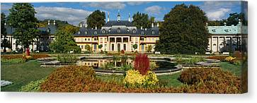 Formal Garden In Front Of A Castle Canvas Print by Panoramic Images
