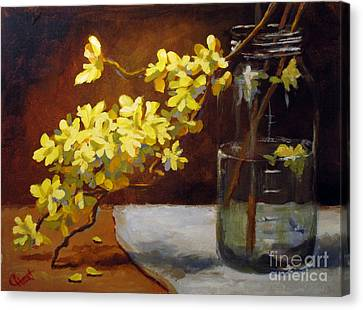 Canvas Print featuring the painting Forsythia by Carol Hart