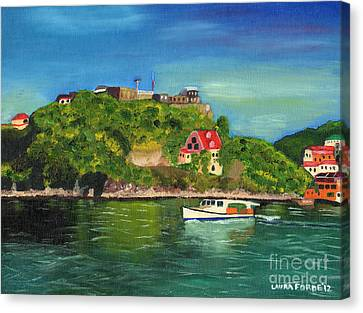 Canvas Print featuring the painting Fort George Grenada by Laura Forde